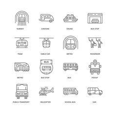 16 linear icons related to Car, Cable car, Subway, undefined, Pi
