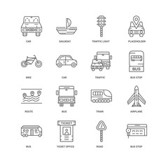 16 linear icons related to Bus stop, Road, Ticket office, Bus, A