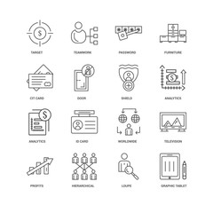 16 linear icons related to Graphic tablet, Door, Target, undefin