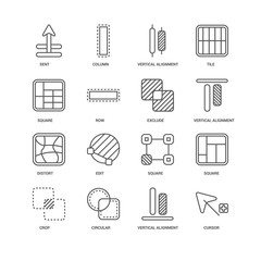 Simple Set of 16 Vector Line Icon. Contains such Icons as Cursor