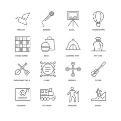 16 linear icons related to Climb, Bags, Origami, undefined, Guit