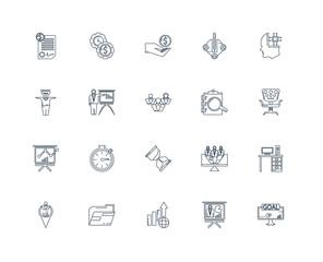 Set Of 20 outline icons such as Goal, Presentation, Profits, Fol
