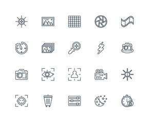 Set Of 20 Universal Editable Icons. Includes Elements Such As Ti