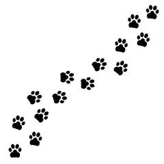 Black footprints of dogs. Paw print, animal tracks – stock vector