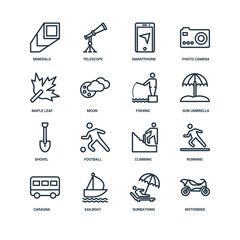 Set Of 16 Universal Editable Icons. Includes Elements Such As Mo