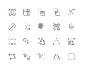 Simple Set of 20 Vector Line Icon. Contains such Icons as Square