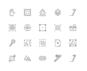 20 linear icons related to Pen, Workspace, Anchor point, Layers,