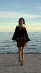 3d illustration of a woman wearing a dress walking on a seaside walkway in the late afternoon light.