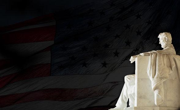 Lincoln Statue and American Flag, Lincoln Memorial, Washington DC, USA