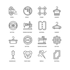 Simple Set of 16 Vector Line Icon. Contains such Icons as Materi