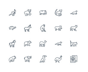 Set Of 20 outline icons such as Polaroid, Cassowary, Hornbill, E