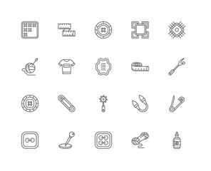 Simple Set of 20 Vector Line Icon. Contains such Icons as Glue,
