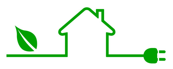 Eco house icon. Energy efficient house concept - vector