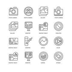 Simple Set of 16 Vector Line Icon. Contains such Icons as Sponge