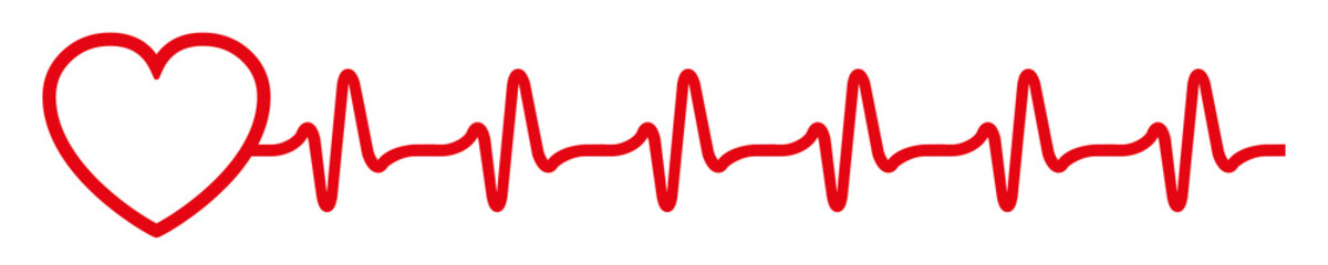 Heart pulse icon, cardiogram sign, heartbeat, one line - vector