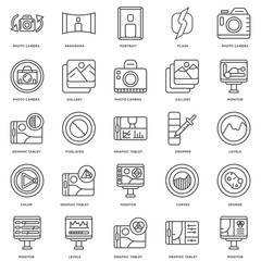 Simple Set of 25 Vector Line Icon. Contains such Icons as Monito