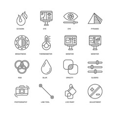 Simple Set of 16 Vector Line Icon. Contains such Icons as Adjust