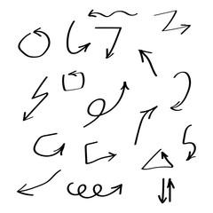Set of vector black arrows hand drawn brush. Arrow vector collection
