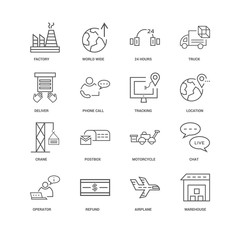 16 linear icons related to Warehouse, Airplane, Refund, Operator