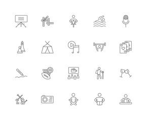 20 linear icons related to Cooking, Cards, Karaoke, Swimming, Ga