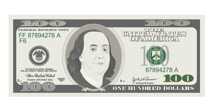 100 Dollars Banknote, bill one hundred dollars, american president Benjamin Franklin.