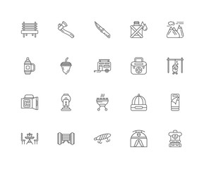 Simple Set of 20 Vector Line Icon. Contains such Icons as Backpa