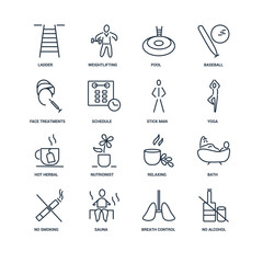 Set Of 16 outline icons such as No Alcohol, Breath Control, Saun