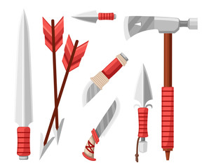 Tomahawk axe, knives, daggers, and arrows. Items for survival, cold steel arms. Flat vector illustration on white background