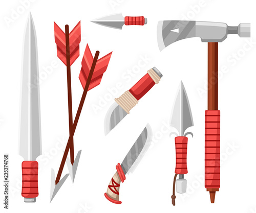 Tomahawk axe, knives, daggers, and arrows  Items for