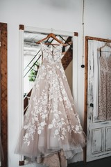 Luxurious light dress of the bride.