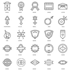 Simple Set of 25 Vector Line Icon. Contains such Icons as Badge,