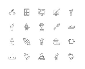 20 linear icons related to Glove for american football player, S