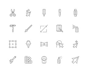 20 linear icons related to Cursor, Spray, Paint bucket, Pantone,