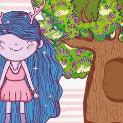 girl fantastic creature with antlers and tree houses