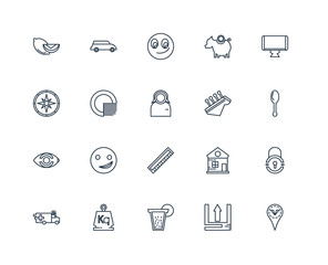 Set Of 20 outline icons such as Placeholder, Upload, Lemonade, W
