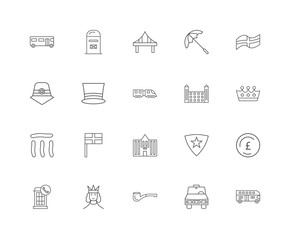 20 linear icons related to Bus, Crown, England, Umbrella, Phone