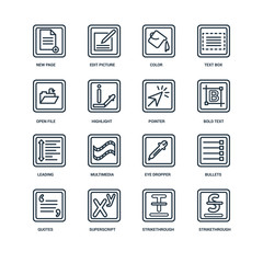 Set Of 16 Universal Editable Icons. Includes Elements Such As St