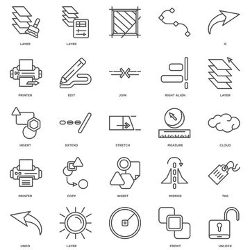 Simple Set of 25 Vector Line Icon. Contains such Icons as Unlock
