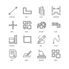 Simple Set of 16 Vector Line Icon. Contains such Icons as Array,