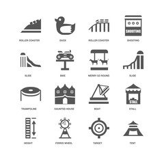 16 linear icons related to Tent, Bike, Roller coaster, undefined