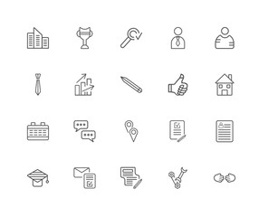 20 linear icons related to Handshake, Skills, Letter, Mortarboar