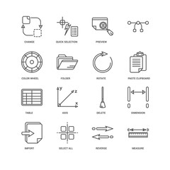 Simple Set of 16 Vector Line Icon. Contains such Icons as Measur