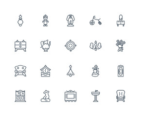Set Of 20 outline icons such as Armchair, Sink, Frame, Sculpture