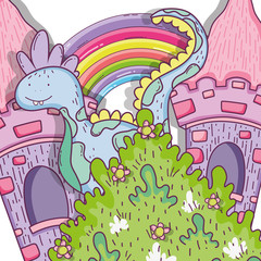 fantastic dragn creature with castle and rainbow