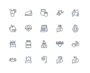 Set Of 20 outline icons such as Muscle, Shower, Abs, Stationary