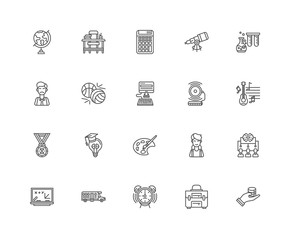 Simple Set of 20 Vector Line Icon. Contains such Icons as Schola