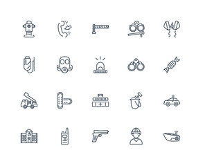 Set Of 20 outline icons such as Ship, Firefighter, Gun, Walkie t