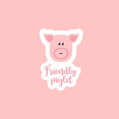 Sticker logo Sticker logo Friendly piglet