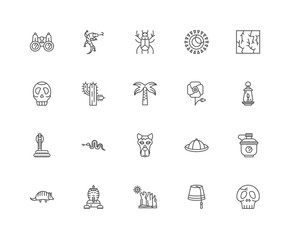 Simple Set of 20 Vector Line Icon. Contains such Icons as Skull,