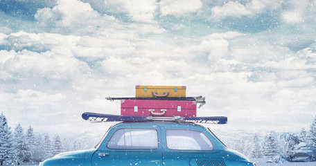 Car with luggage on the roof ready for winter vacation 3D Rendering